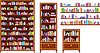 Vector clipart: Set of bookcases and shelves