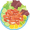 Vector clipart: Dish from shrimps and vegetables