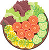 Vector clipart: Plate with vegetables
