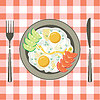 Vector clipart: Fried eggs in plate