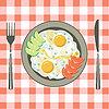 Векторный клипарт: Яичница в тарелке