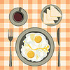 Fried eggs in plate, coffee and bread