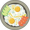 Vector clipart: Fried eggs with vegetables