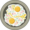 Vector clipart: Fried eggs with bacon