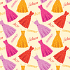 Vector clipart: Seamless summer dresses pattern