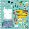 Vector clipart: Fashion set with jeans skirt