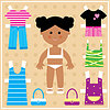 Vector clipart: Paper doll with clothes set