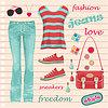 Vector clipart: Jeans fashion set