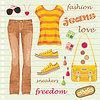 Jeans fashion set | Stock Vector Graphics