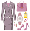 Vector clipart: Fashion set of female suit, accessories and cosmetics
