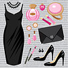 Vector clipart: Fashion set with a cocktail dress