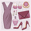 Fashion set with a dress | Stock Vector Graphics