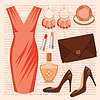 Vector clipart: Fashion set with a dress