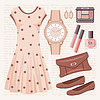 Vector clipart: Fashion set in pastel tones with a dress