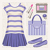 Vector clipart: Fashion set with a top and a skirt.