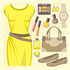 Vector clipart: Fashion set with a casual dress