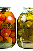 Jars of pickles and tomatoes | Stock Foto