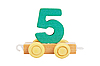 Wooden toy number 5 | Stock Foto