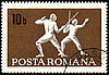 Photo 300 DPI: Fencing on post stamp of Romania