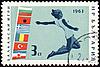 Photo 300 DPI: Jumping athlete on post stamp