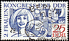 Portrait of young woman on post stamp | Stock Illustration
