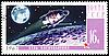 邮戳与俄罗斯飞船在月球轨道 | 光栅插图
