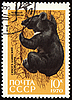 Black bear on post stamp | Stock Illustration