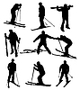 Vector clipart: set of skier silhouettes