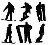 Set von Silhouetten von Snowboardern