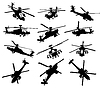 Vector clipart: Helicopter silhouettes set