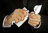 Businessman hands furiously tormenting document | Stock Foto