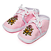 Baby pink booties with flowers   Stock Foto