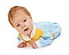 Bebé acostado en el piso | Foto de stock