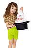 Фото 300 DPI: Ребенок кролика из шляпы, как фокусник