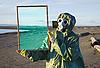 ID 3146410   Ecologist shows desert through magic framework   High resolution stock photo   CLIPARTO