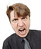 맹렬하게 외쳤다 젊은 남자   Stock Foto