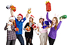 Happy company with New Year`s gifts in hands | Stock Foto