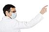 Lekarz w masce medycznych palca punktów | Stock Foto