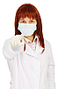 Photo 300 DPI: Staff nurse points finger at us