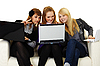 Photo 300 DPI: Girls communicate on Internet with foreigners