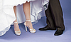 Feet of groom and bride - wedding composition | Stock Foto