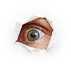 Photo 300 DPI: Voyeurism - eye spies through hole