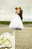 Newly married kiss   Stock Foto