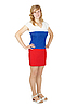 Woman in dress the color Russian flag | Stock Foto