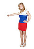 Woman in clothing color Russian flag kicks gesture | Stock Foto