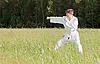 男子和服从事东方搏击运动 | 免版税照片