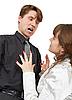 Photo 300 DPI: Man terribly shouts at young woman