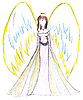 Child`s drawing - angel with wings | Stock Illustration