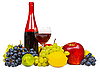 Photo 300 DPI: Still life - bottle of red wine and fruits background