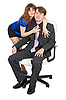 ID 3149778 | Woman embraces young man in an office chair | High resolution stock photo | CLIPARTO